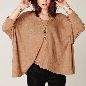 Free People Cream Oversized Boxy Twist Sweater